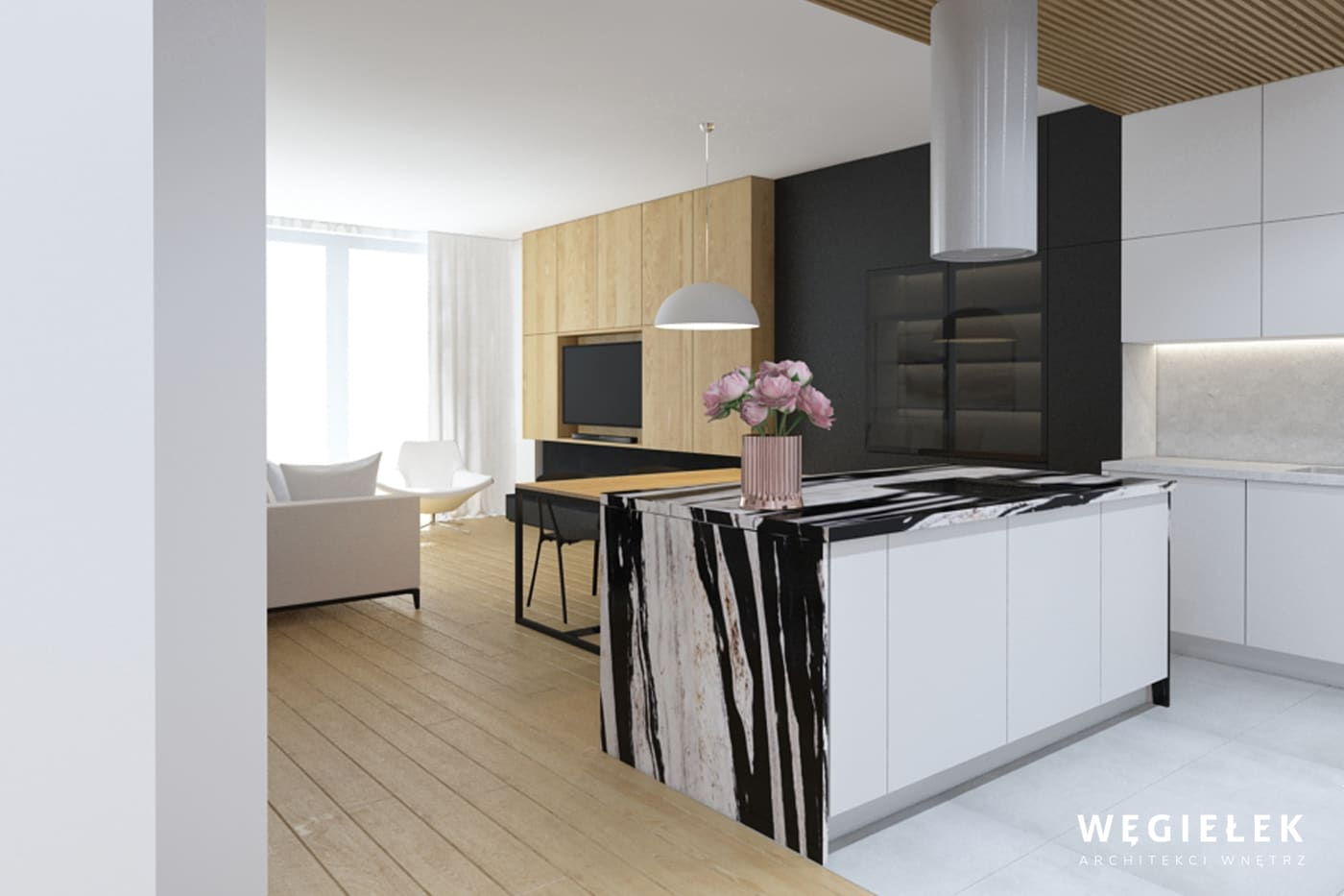 Architekci wnętrz domów z Warszawy tym razem stawiają na przykuwający uwagę detal. Jest nim blat wyspy oddzielającej kuchnię od salonu, przypomina zebrę.