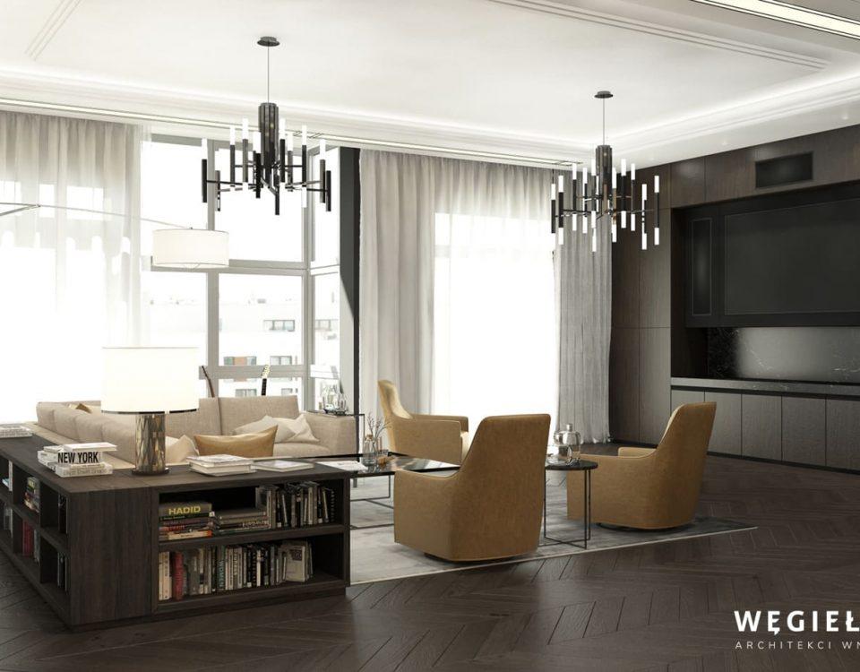 Taki salon może sprawić, że mieszkanie będzie miejscem wielu spotkań towarzyskich. Architekt z Warszawy sprawił, że przestrzeń pomieszczenia, zachwyca.