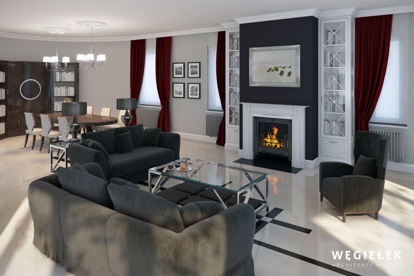 W klasycznym salonie nie może zabraknąć kominka i miejsca do siedzenia wokół niego. To wszystko znajdziemy w projekcie mieszkania architekta z Warszawy.