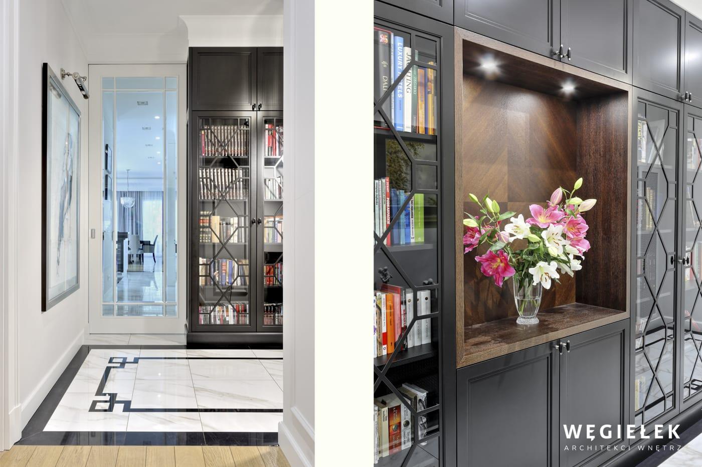 Projektant wnętrz prezentuje urokliwy hol oraz bibliotekę. Meble są z drewna, a ich wzór nawiązuje do posadzki. Całość tworzy wizję dbałości o każdy szczegół.