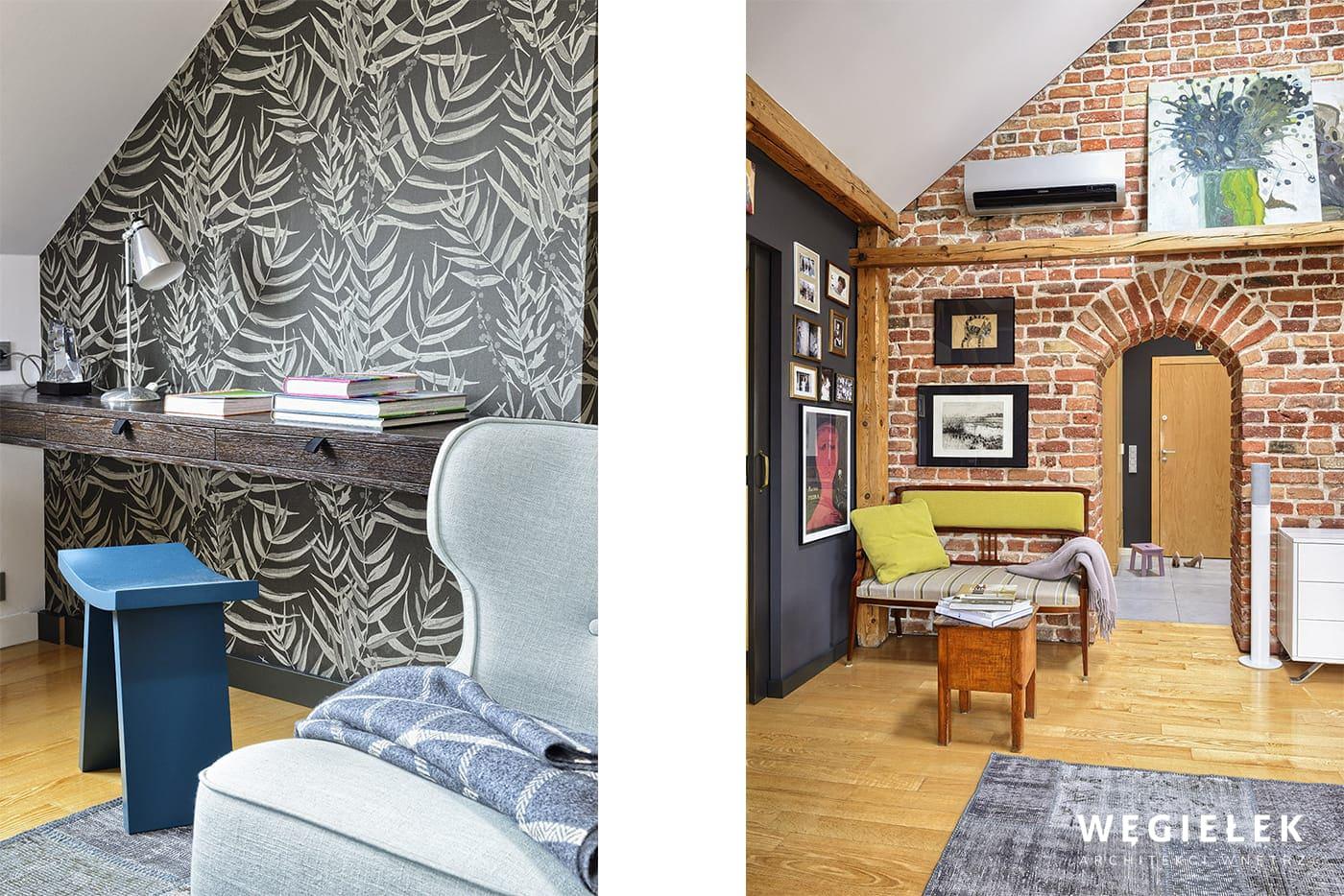 Biurko zawieszone na ścianie, wykorzystujące przestrzeń we wnęce może zachwycać. Ten pomysł projektanta poddasza jest bardzo praktycznym rozwiązaniem.