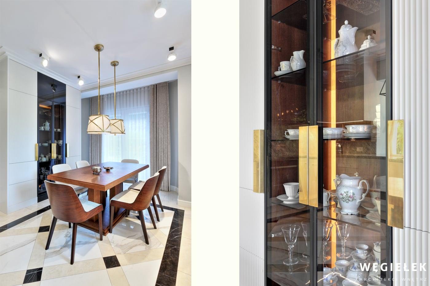 Klasyczna kuchnia, nawet ta o nowoczesnym charakterze, nie może być pozbawiona przeszklonej gablotki z porcelaną. Zadbał o to architekt domów z Warszawy.