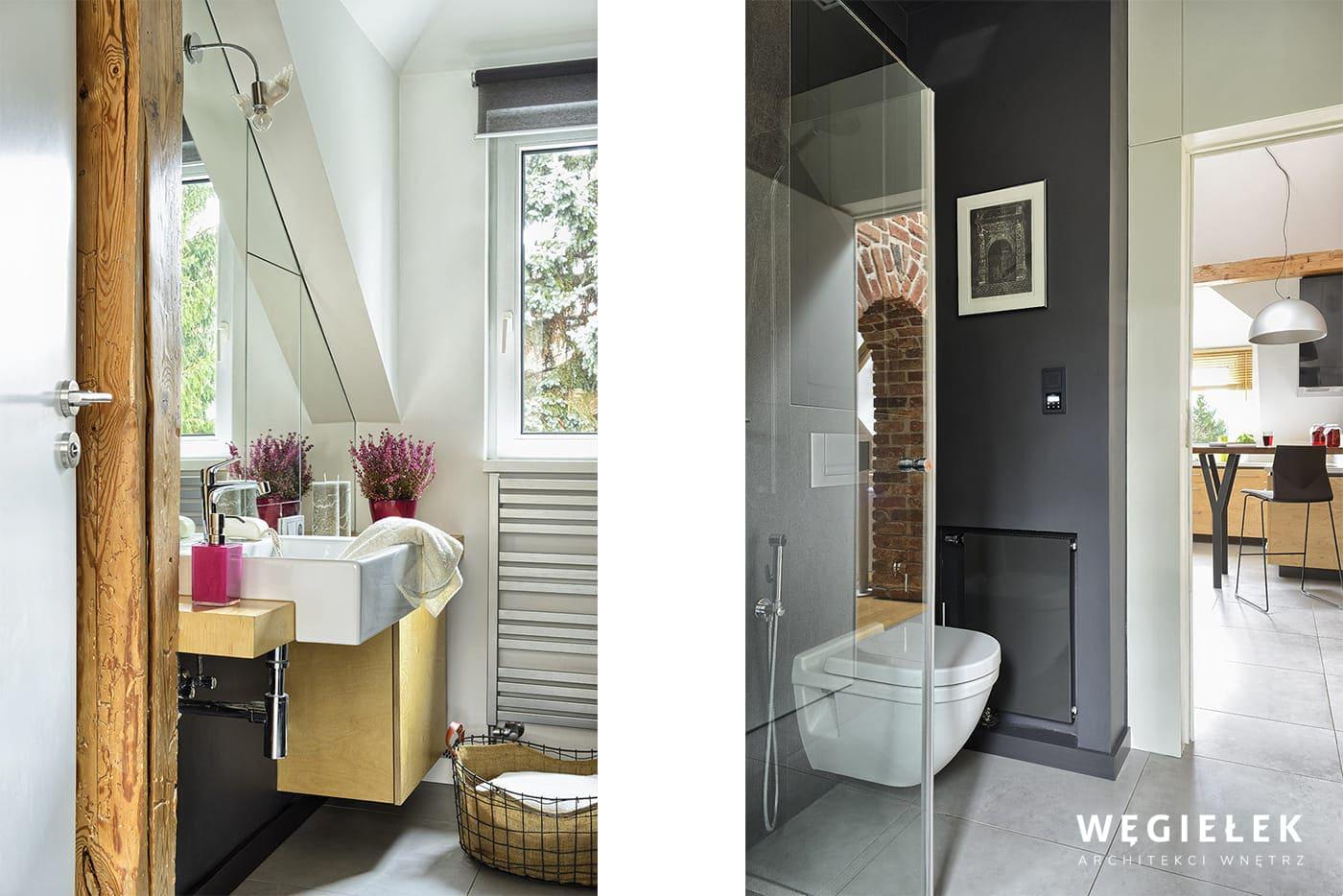 Łazienka na poddaszu jest niewielka, ale projektant wnętrza zadbał o to, żeby była ładna i funkcjonalna. W dodatku jest widna, bo posiada sporej wielkości okno.
