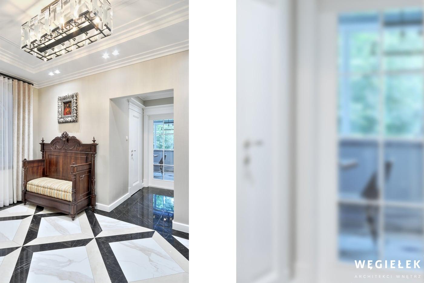 Projekt domu musi uwzględniać również wyjątkowy hol. Najlepiej połączyć klasykę z nowoczesnością, ta zasada sprawdziła się i tym razem, dając imponujący efekt.