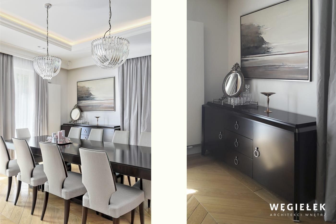 Salon to miejsce, w którym przyjmujemy gości. Architekci zadbali o jego reprezentacyjny charakter poprzez klasyczne meble, stonowane barwy i eleganckie dodatki.