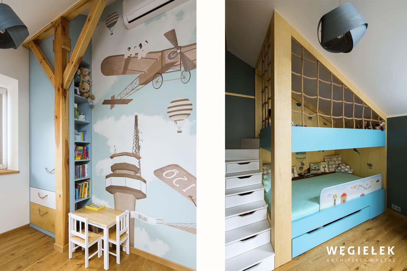 Ten uroczy pokoik ma wydzielone różne strefy, wypoczynku, pracy i zabawy. To niezwykła realizacja projektu architektów wnętrz z Warszawy w małym mieszkaniu.