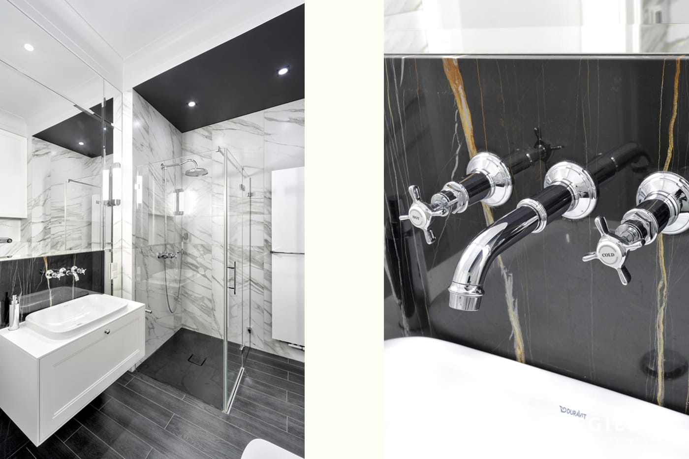Klasyczna łazienka o surowym wykończeniu to pomysł projektantów wnętrz. Kontrastowe zestawienie materiałów i barw robi wrażenie przestrzeni i światła.