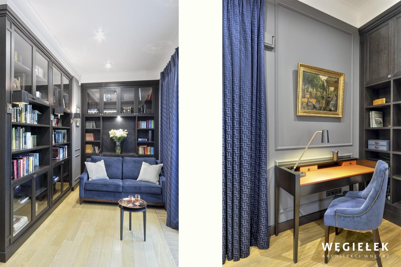 Tym razem architekci apartamentów odświeżyli kolor granatowy, co dało ciekawy efekt eleganckiego gabinetu z ciemnymi meblami i obrazem w złotej ramie.