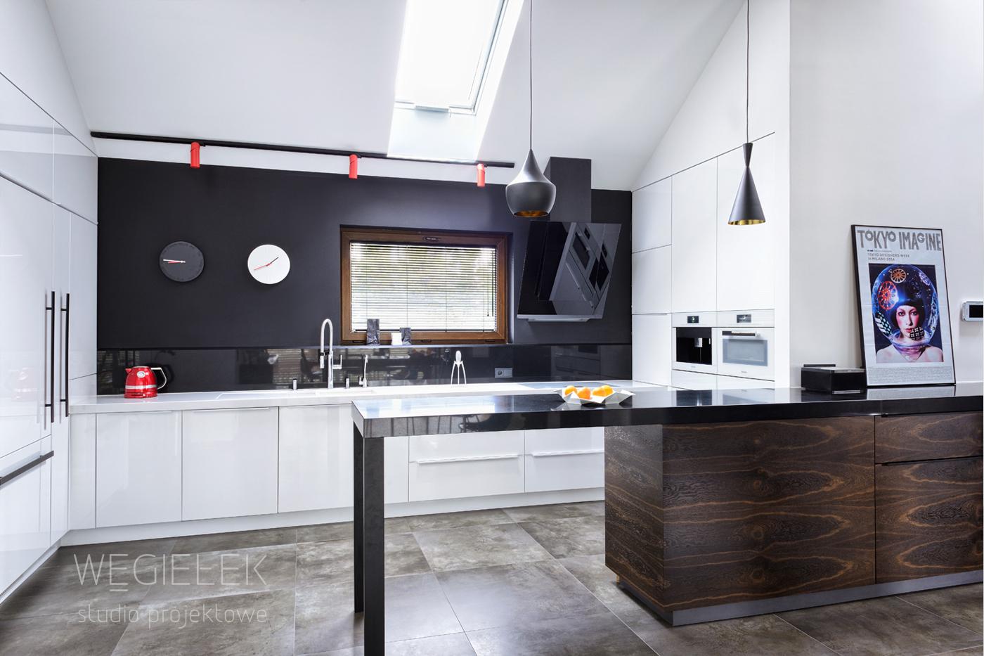05 bialo czarna kuchnia nowoczesna  Węgiełek – Studio   -> Kuchnia City Czarna