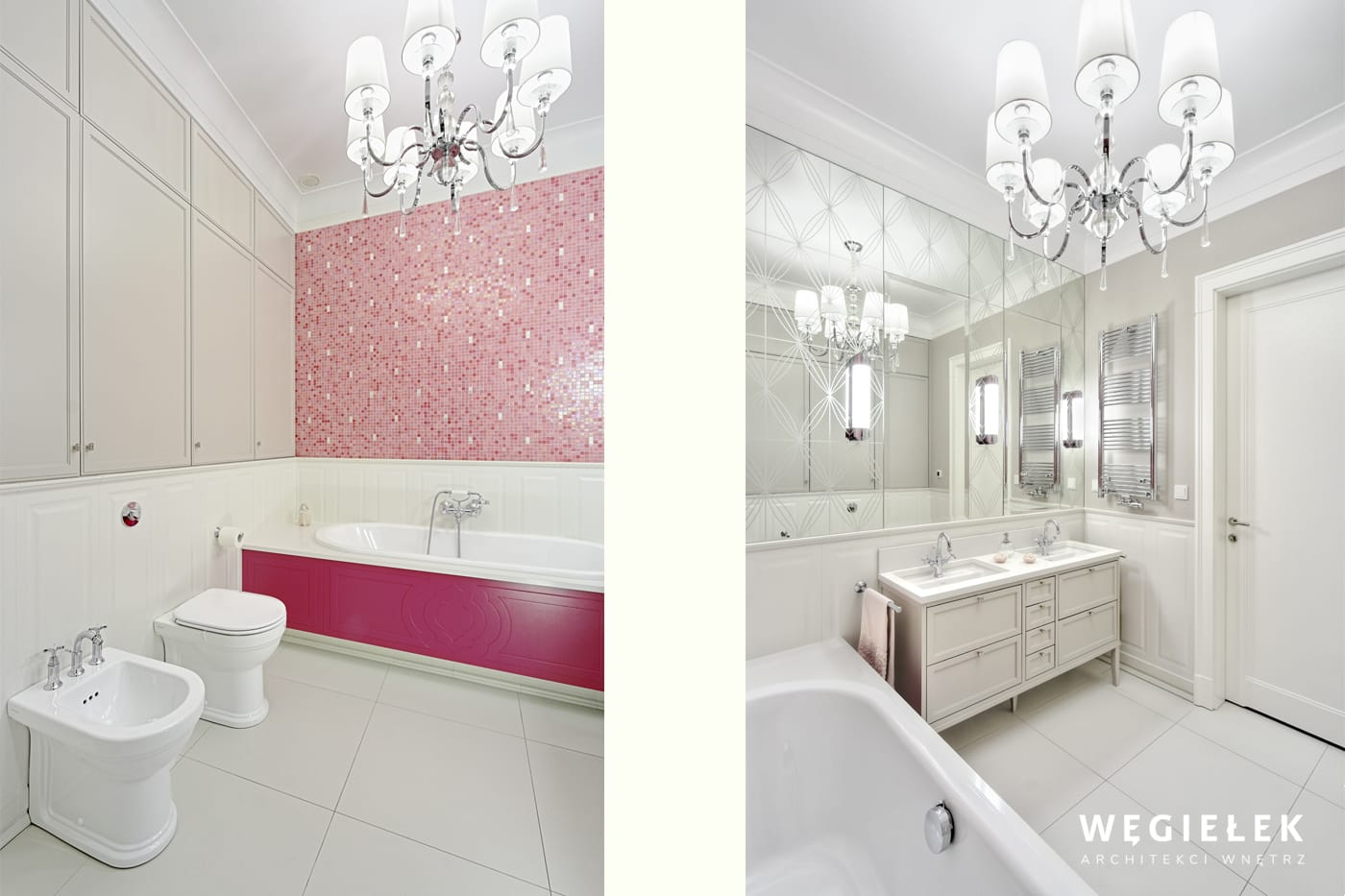 Architekt Węgiełek stworzył bardzo przestronne wnętrze łazienki o oryginalnym wystroju. Ta propozycja jest przeznaczona dla młodej damy.